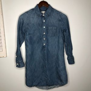 J. Crew Denim Chambray Popover Shirt Tunic Size 0